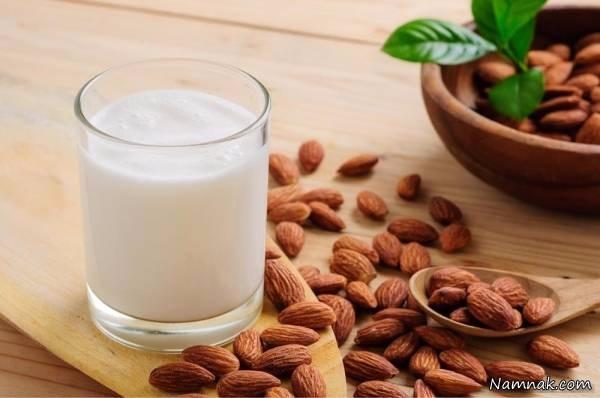 قهوه سرد خانگی و شیر بادام